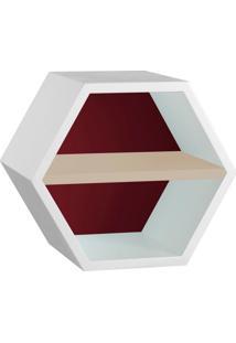 Nicho Hexagonal Favo Ii Com Prateleira Branco Com Bordo E Bege