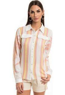 458dbf2e76 ... Camisa Moikana De Crepe Estampada Botões Feminina - Feminino-Amarelo