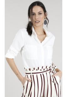 cc6ddba6ad ... Camisa Feminina Com Bolsos Manga Longa Off White