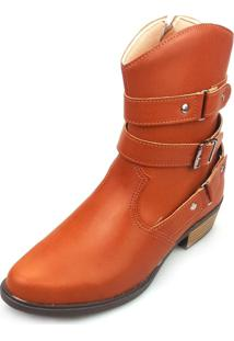 Bota Love Shoes Cano Curto Country 3 Tiras Fivela Castor