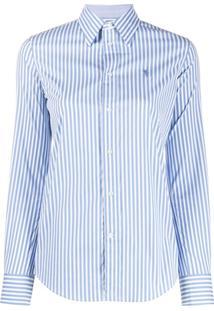 Polo Ralph Lauren Camisa Com Listras E Logo Bordado - Branco