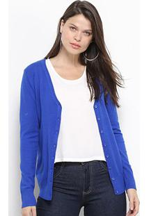 Malha Facinelli Cardigã Básico Feminino - Feminino-Azul