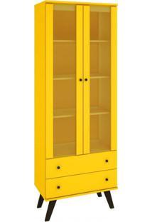 Cristaleira 2 Portas 2 Gavetas Natu Retrô Delmarco Móveis Amarelo
