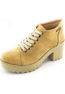 Bota Coturno Quality Shoes Feminina Camurça Caramelo 35