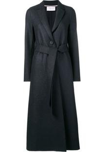 Harris Wharf London Trench Coat Longa Acinturada - Azul