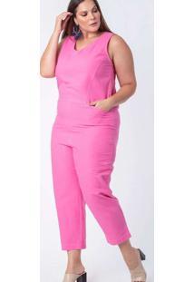 Macacão Almaria Plus Size Munny Liso Rosa
