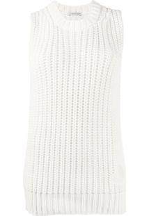 Moncler Blusa Decote Careca De Tricô Canelado - Branco