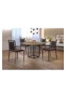 Conjunto De Mesa De Jantar Hera Com Tampo Siena E 4 Cadeiras Grécia I Couríssimo Marrom Escuro