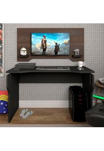 Mesa Para Notebook Gamer Com Painel Preta E Terrano