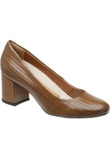 Sapato Tradicional Em Couro- Marrom Claro- Salto: 6,Mr. Cat