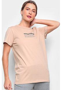 Camiseta Colcci Sustentável Feminina - Feminino-Bege