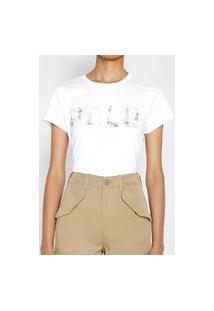 Camiseta Polo Ralph Lauren Logo Paetês Branca
