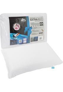 Travesseiro Fibrasca Extravisco Toque De Rosas 50X70Cm Branco. - Branco - Dafiti