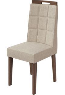 Cadeira Nevada Linho Rinzai Bege Imbuia Naturale