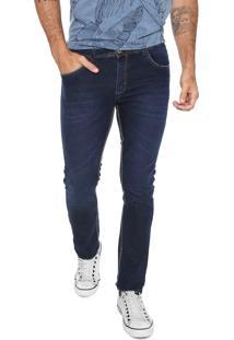 Calça Jeans Fiveblu Reta Estonada Azul Marinho