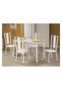 Conjunto De Mesa Bianca Com 4 Cadeiras Branco E Cinza