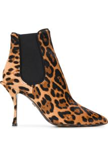 Dolce & Gabbana Bota Com Estampa Animal Print - Marrom