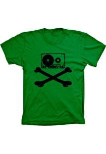 Camiseta Lu Geek Manga Curta Fita Caveira Verde
