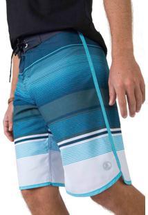 Boardshort Listrado Azul / Branco