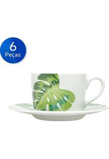 Conjunto De Xícaras Para Chá Com Pires 6 Peças 200 Ml Folhas-Bon Gourmet - Branco