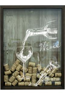 Quadro Porta Rolhas Wine Betume