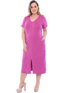 Vestido Fenda Na Frente Lilás Plus Size