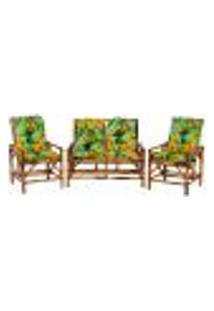 Sofá 2 Lugares 2 Cadeiras De Bambu Cancun Para Area Edicula Jardim G32