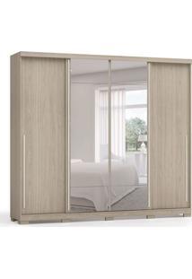 Guarda-Roupa Casal Com Espelho Afonso 4 Pt Amêndoa