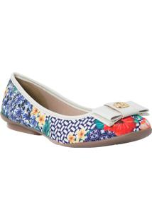 Sapatilha Floral Com Laã§O- Branca & Azulcarmen Steffens
