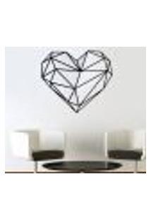 Adesivo De Parede Coração Em Origami - P 48X54Cm