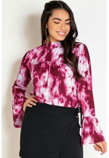Blusa Tie Dye Bordô Com Franzidos E Gola Alta