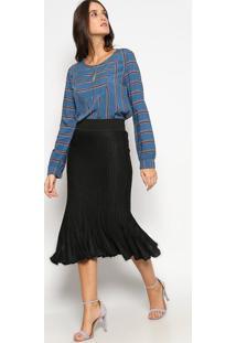 Blusa Listrada Com Recorte Vazado- Azul & Vermelhavip Reserva