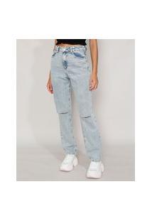 Calça Jeans Feminina Reta Marmorizada Cintura Super Alta Com Rasgos No Joelho Azul Claro