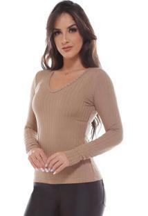 Blusa Moleton Decote Em V Canelado LisoBege