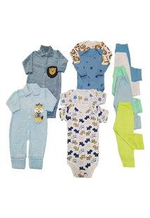 Kit 11 Pçs Enxoval Maternidade Roupa De Bebê Menina E Menino Azul