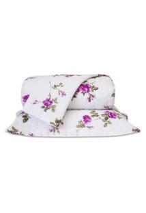 Cobre Leito Standard Flores Pink Queen 160 Fios 03 Peças Dourados Enxovais