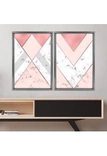 Quadro Com Moldura Chanfrada Triângulo Com Mármore Grafitti Metalizado - Médio