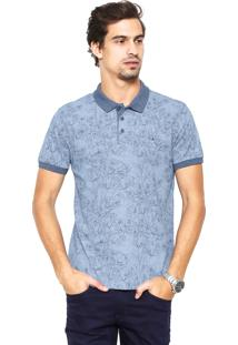 Camisa Polo Aramis Manga Curta Estampada Azul