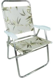 Cadeira De Praia Cancun Plus Zaka Alumínio Estampada Até 100 Kg Bambu