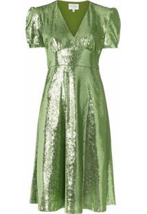 Hvn Vestido Paula Com Aplicação De Paetês - Verde
