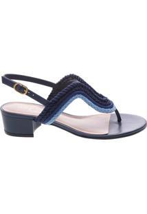cb07ef74c Arezzo. Sandália Vintage Nautica Com Salto Azul ...