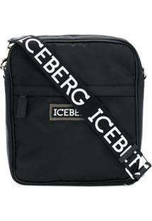 Iceberg Logo Plaque Crossbody Bag - Preto