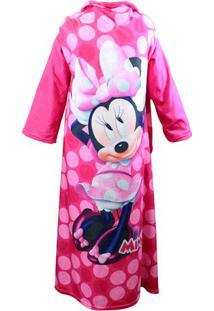 Cobertor Com Mangas Minnie Mouse® - Rosa & Preto - 1Zona Criativa