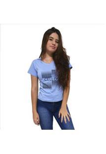 Camiseta Gola V Cellos Degradê Premium Feminina - Feminino-Azul Claro