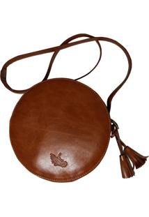 Bolsa Line Store Leather Redonda Couro Whisky Rãºstico. - Marrom - Feminino - Dafiti