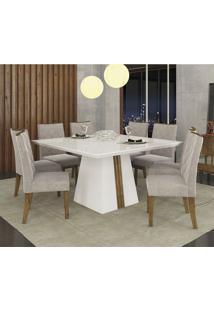 Conjunto Sala De Jantar Mesa Tampo Mdf/Vidro E 8 Cadeiras Golden Itália Dj Móveis