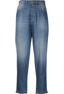 Love Moschino Calça Jeans Cenoura Cropped - Azul