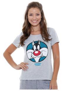 Pijama Avulso Blusa Feminina Frajola Looney Tunes