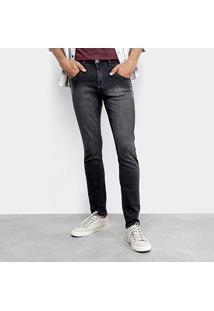 Calça Skinny Tbt Jeans Estonada Pespontos Masculina - Masculino-Preto