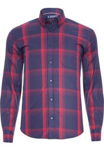 Camisa Masculina Xadrez Dark Stretch - Azul